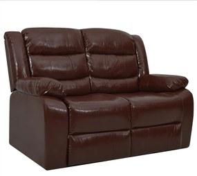 288502 vidaXL Sofá reclinável de 2 lugares couro artificial castanho