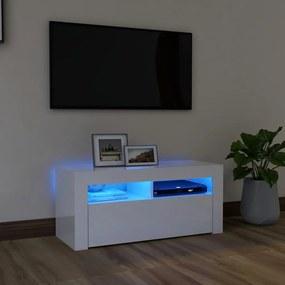 804325 vidaXL Móvel de TV com luzes LED 90x35x40 cm branco brilhante