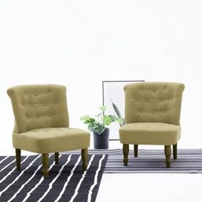 282134 vidaXL Cadeiras francesas 2 pcs tecido verde