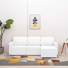 288794 vidaXL Sofá-cama modular de 3 lugares couro artificial branco