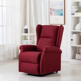 289743 vidaXL Poltrona de massagens elevável tecido vermelho tinto
