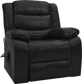 Sofá de massagens reclinável couro artificial preto