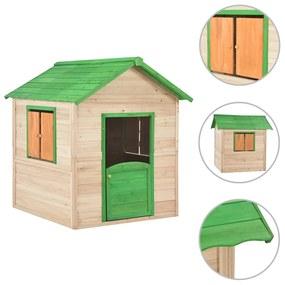 91791 vidaXL Casa de brincar para crianças madeira de abeto verde
