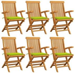 3062552 vidaXL Cadeiras jardim c/ almofadões verde brilhante 6 pcs teca maciça