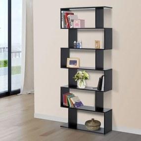 HomCom® Estante Alta Livraría 6 Estantes Sala de Jantar Sala Desenho Moderno Montagem de Parede 80x23x192cm Madeira