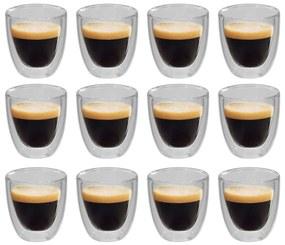 50832 vidaXL Copo de vidro duplo térmico para café 12 pcs 80 ml