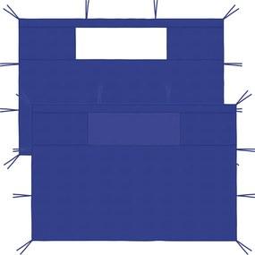 Paredes laterais para gazebo com janelas 2 pcs azul