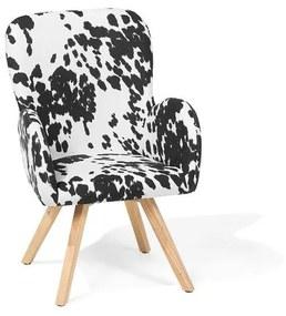 Poltrona em tecido preto e branco em padrão malhado BJARN