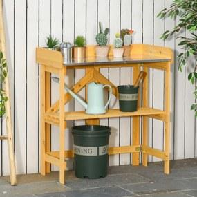 Outsunny Mesa dobrável para plantio Mesa de madeira para jardinagem com placa de zinco e prateleira para jardim terraço varanda 85x44x89 cm Amarelo