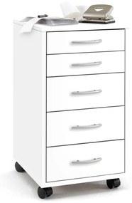 428728 FMD Armário móvel com 5 gavetas branco