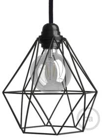 Naked light bulb cage metal lampshade Diamond with E27 fitting - Preto