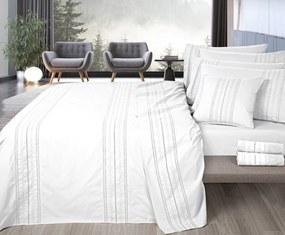 Roupa de cama Bordada - Ariana cor cinza ou branco: Branco 1 lençol inferior não ajustável 240x280 cm + 1 lençol superior 240x290 cm  + 2 fronhas 50x70 cm fecha com pala interna 1 lado