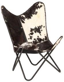 246390 vidaXL Cadeira borboleta em couro de cabra genuíno preto e branco