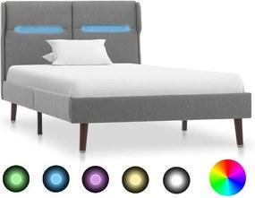 Estrutura de cama com LED 100x200 cm tecido cinzento-claro
