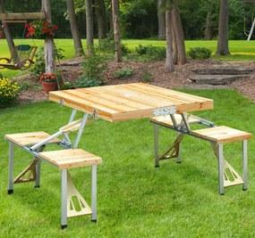 Outsunny Mesa desdobrável de madeira de pinho para acampamento ou praia 4 assentos - Castanho - 85x72,5x68cm