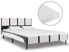 277526 vidaXL Cama com colchão 120x200cm couro artificial branco e preto