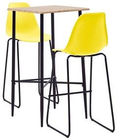 Conjunto de Bar Plástico Amarelo 3 pcs