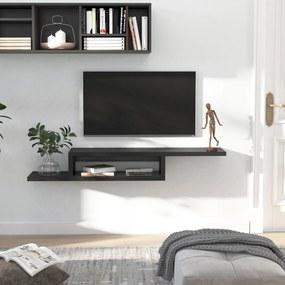 HOMCOM Movel flutuante de TV para televisão de até 60 polegadas com 2 prateleiras de madeira 152,4x29,8x21 cm Preto